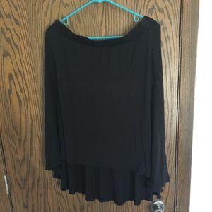 Black jersey hi-lo midi skirt